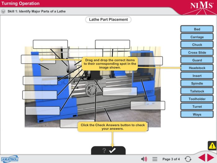 Example of NIMS CNC Machine Operator program skills simulation