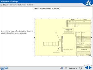 Print Reading eLearning Course Multimedia Screen Capture - Multiview Drawings