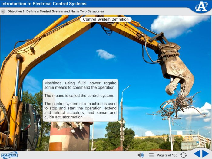 Electro-Fluid Power eLearning Course Multimedia Screen Capture - Introduction to Electrical Control Systems