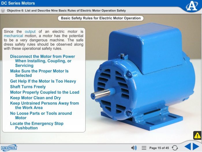 Basic Electrical Machines eLearning Course Multimedia Screen Capture - DC Series Motors