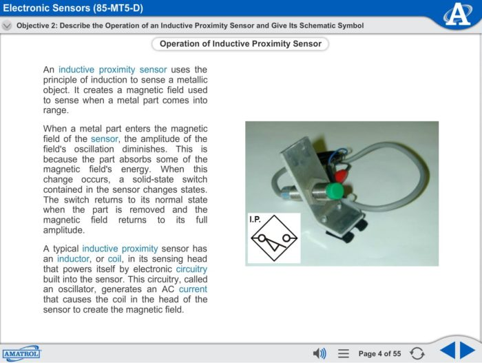 Electronic Sensors eLearning Course Multimedia Screen Capture - Inductive Proximity Sensors