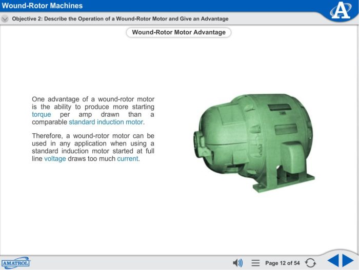 Wound Rotor Motor eLearning Course Multimedia Screen Capture - Wound Rotor Machines