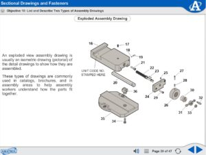 Print Reading eLearning Course Multimedia Screen Capture - Sectional Drawings and Fasteners
