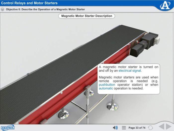 Electrical Motor Control eLearning Course Multimedia Screen Capture - Control Relays and Motor Starters