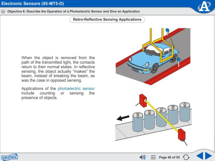 Electronic Sensors eLearning Course Multimedia Screen Capture - Photoelectric Sensors