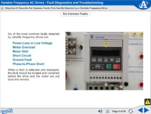 Variable Frequency AC Drive eLearning Course Multimedia Screen Capture - Fault Diagnostics and Troubleshooting