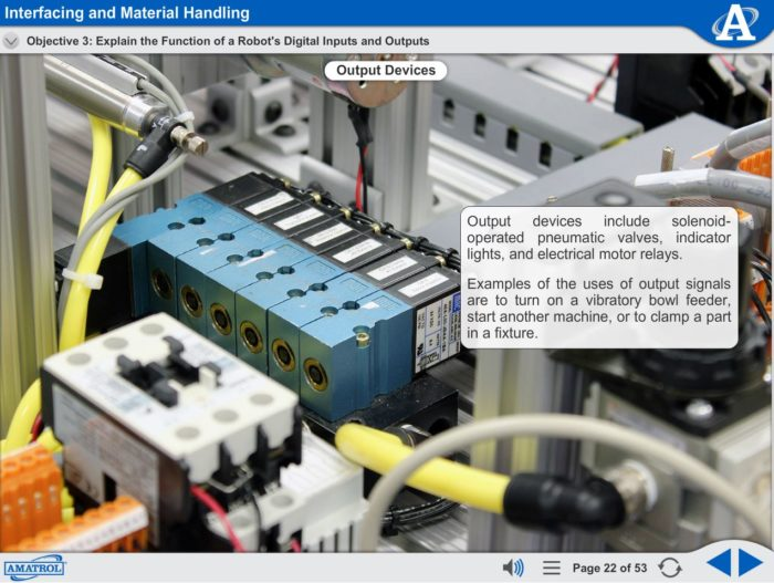 Robot Operation and Programming eLearning Course Multimedia Screen Capture - Interfacing and Material Handling