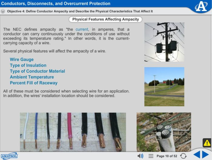 Electrical Power Distribution eLearning Course Multimedia Screen Capture - Conductors, Disconnects, and Overcurrent Protection