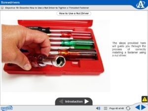 Basic Assembly Skills eLearning Course Multimedia Screen Capture - Screwdrivers