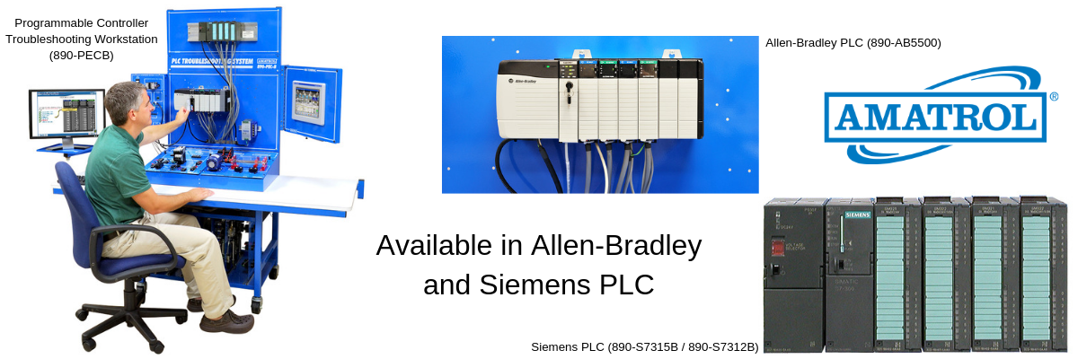 Programmable Controller Troubleshooting Workstation with Allen-Bradley PLC and Siemens PLC Technical Training