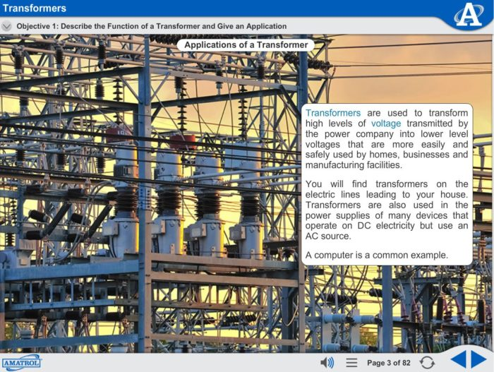 AC/DC Electrical eLearning Course Multimedia Screen Capture - Transformers