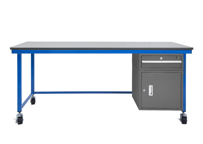 Mobile Technology Workstation, Gray Surface Plus Cabinet, 6 Foot
