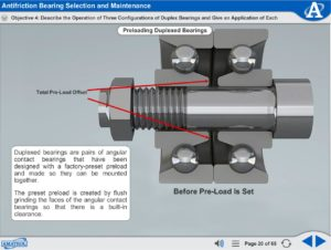 Advanced Mechanical Drives eLearning Course Multimedia Screen Capture - Antifriction Bearing Selection and Maintenance
