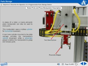 Mechatronics eLearning Course Multimedia Screen Capture - Parts Storage