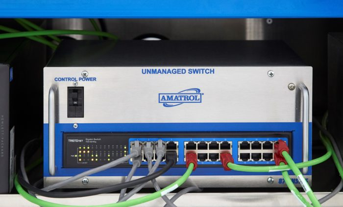 Close-up photo of Amatrol's Unmanaged Ethernet Switch, part of the Tabletop Smart Factory system