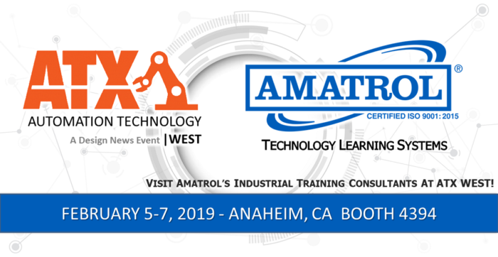 Amatrol will attend the ATX West Trade Show in Anaheim, California on February 5-7, 2019 to showcase eLearning, Learning Systems and Skill Boss