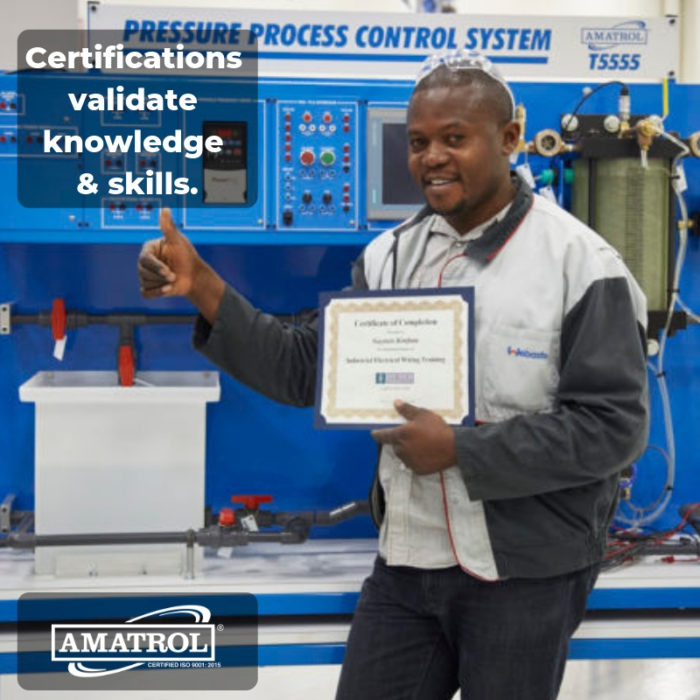 "Amatrol InfoGraphic with logo and text (""Certifications validate knowledge & skills."") over photo of worker with certificate standing in front of Amatrol Pressure Process Control System - T5555."