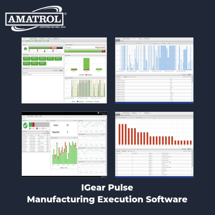 InfoGraphic of IGear Pulse Manufacturing Execution Software with screen captures and Amatrol logo