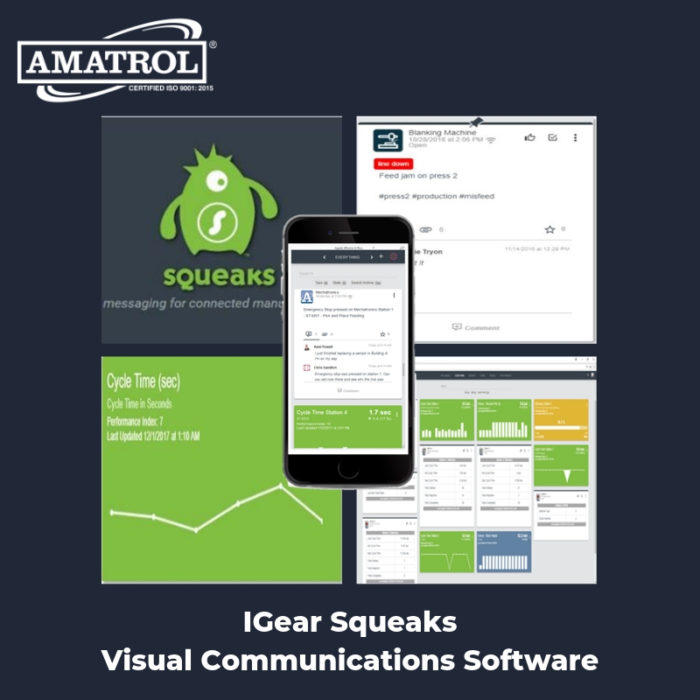 InfoGraphic of IGear Squeaks Visual Communications Software with screen captures, mobile phone with app, and Amatrol logo