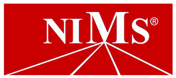 Red and white official logo of NIMS, the National Institute for Metalworking Skills