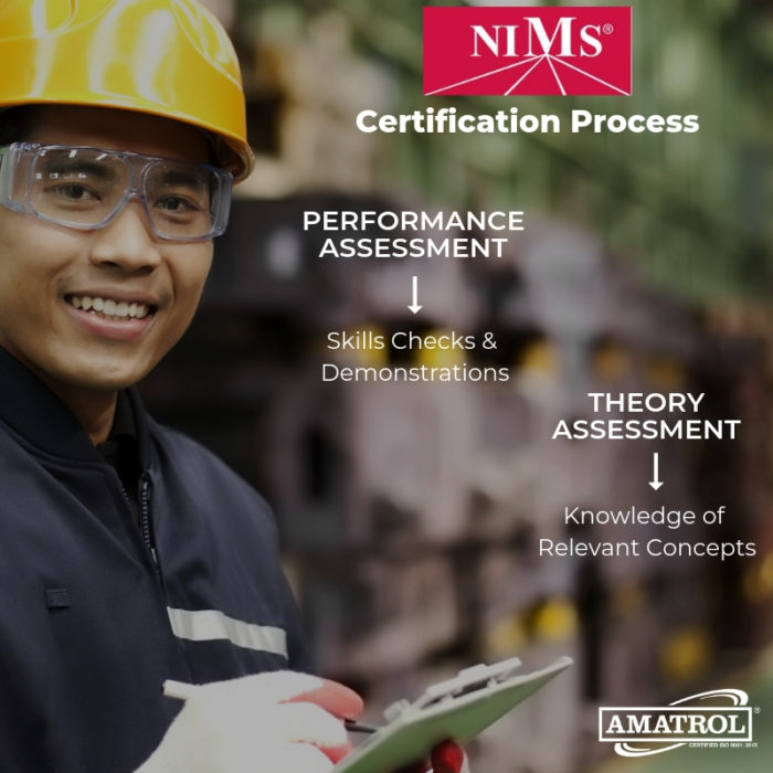 "Amatrol InfoGraphic with factory worker with safety glasses, hard hat, and gloves writing on a clipboard with text: NIMS Certification Process with two subtexts: (1) Performance Assessment with arrow pointing to ""Skills Checks & Demonstrations"" and (2) Theory Assessment with arrow pointing to ""Knowledge of Relevant Concepts"" - Amatrol logo at bottom"