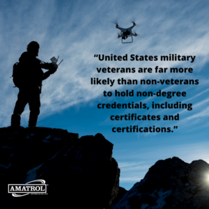 United States military veterans are far more likely than non-veterans to hold non-degree credentials, including certificates and certifications - Amatrol infographic