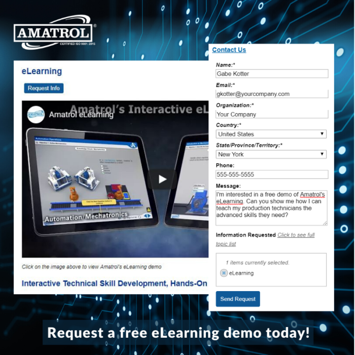 Amatrol's Industrial eLearning Contact Form