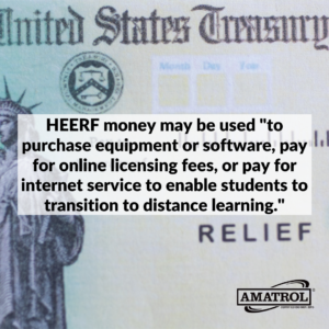 HEERF money may be used _to purchase equipment or software, pay for online licensing fees, or pay for internet service to enable students to transition to distance learning._